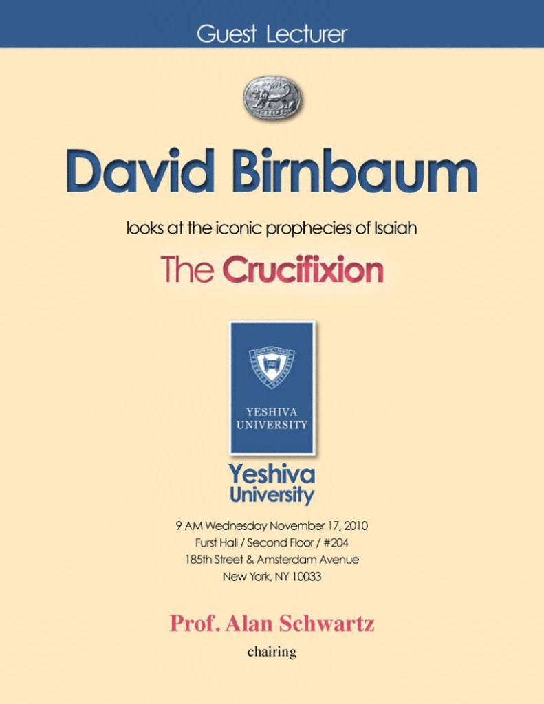 DavidBirnbaumCrucifixionYeshivaUniversity